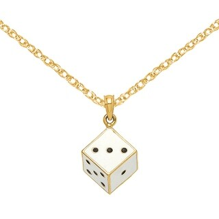 Versil 14 Karat Yellow Gold 3 D White With Black Enamel Dots Dice Charm With 18 Inch Chain