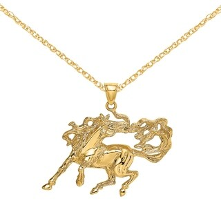 Versil 14 Karat Yellow Gold 2 D Dancing Horse With Long Mane And Tail Charm With 18 Inch Chain