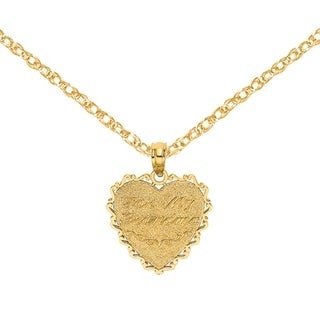 Versil 14 Karat Yellow Gold For My Grandma Reversible Heart Charm With 18 Inch Chain