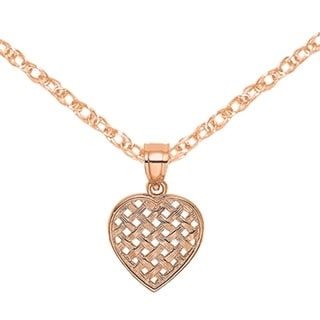 Versil 14 Karat Rose Gold Textured Woven Heart Cut Out Charm With 18 Inch Chain