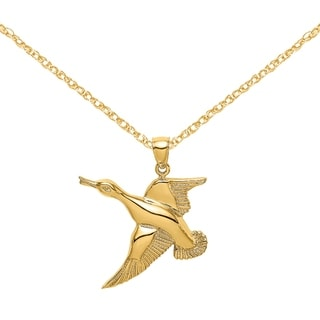 Versil 14 Karat Yellow Gold 2 D Textured Flying Duck Charm With 18 Inch Chain