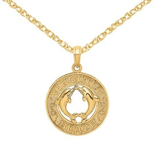 Versil 14 Karat Yellow Gold Virginia Beach On Round Frame With Dolphins In Center Charm With 18 Inch Chain