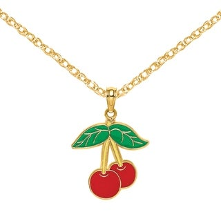 Versil 14 Karat Yellow Gold Cherries With Enamel Flat Stem And Leaf Charm With 18 Inch Chain