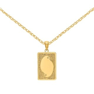 Versil 14 Karat Yellow Gold Rectangular And Engraved Charm With 18 Inch Chain