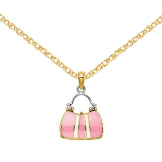 Versil 14 Karat Yellow Gold Rhodium 3 D Moveable Pink Top Handle Handbag With White Stripe Charm With 18 Inch Chain