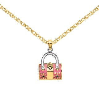 Versil 14 Karat Yellow Gold Rhodium 3 D Moveable Pink Duffle Double Strap Handbag Charm With 18 Inch Chain