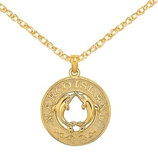 Versil 14 Karat Yellow Gold Marco Island On Round Frame With Dolphins Charm With 18 Inch Chain
