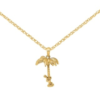 Versil 14 Karat Yellow Gold 3 D Palm Tree With Moveable Man Charm With 18 Inch Chain