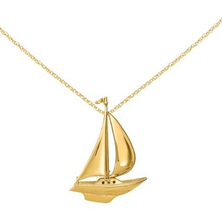 Versil 14 Karat Yellow Gold 2 D Moveable Sailboat Charm With 18 Inch Chain