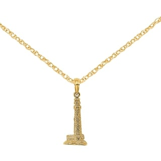 Versil 14 Karat Yellow Gold 3 D Cape May NJ Lighthouse Charm With 18 Inch Chain