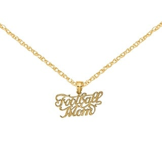 Versil 14 Karat Yellow Gold Football Mom Charm With 18 Inch Chain