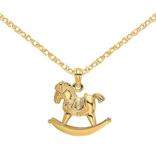 Versil 14 Karat Yellow Gold 3 D Playful Rocking Horse Charm With 18 Inch Chain