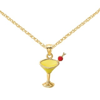 Versil 14 Karat Yellow Gold Yellow Enameled Martini Drink With Cherry Charm With 18 Inch Chain