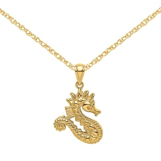 Versil 14 Karat Yellow Gold 2 D Seahorse Charm With 18 Inch Chain