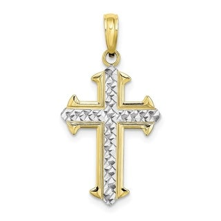 Versil 10 Karat Yellow Gold With Rhodium Cross With Diamond Cut Center And Outline Arrow Tips Charm With 18 Inch Chain