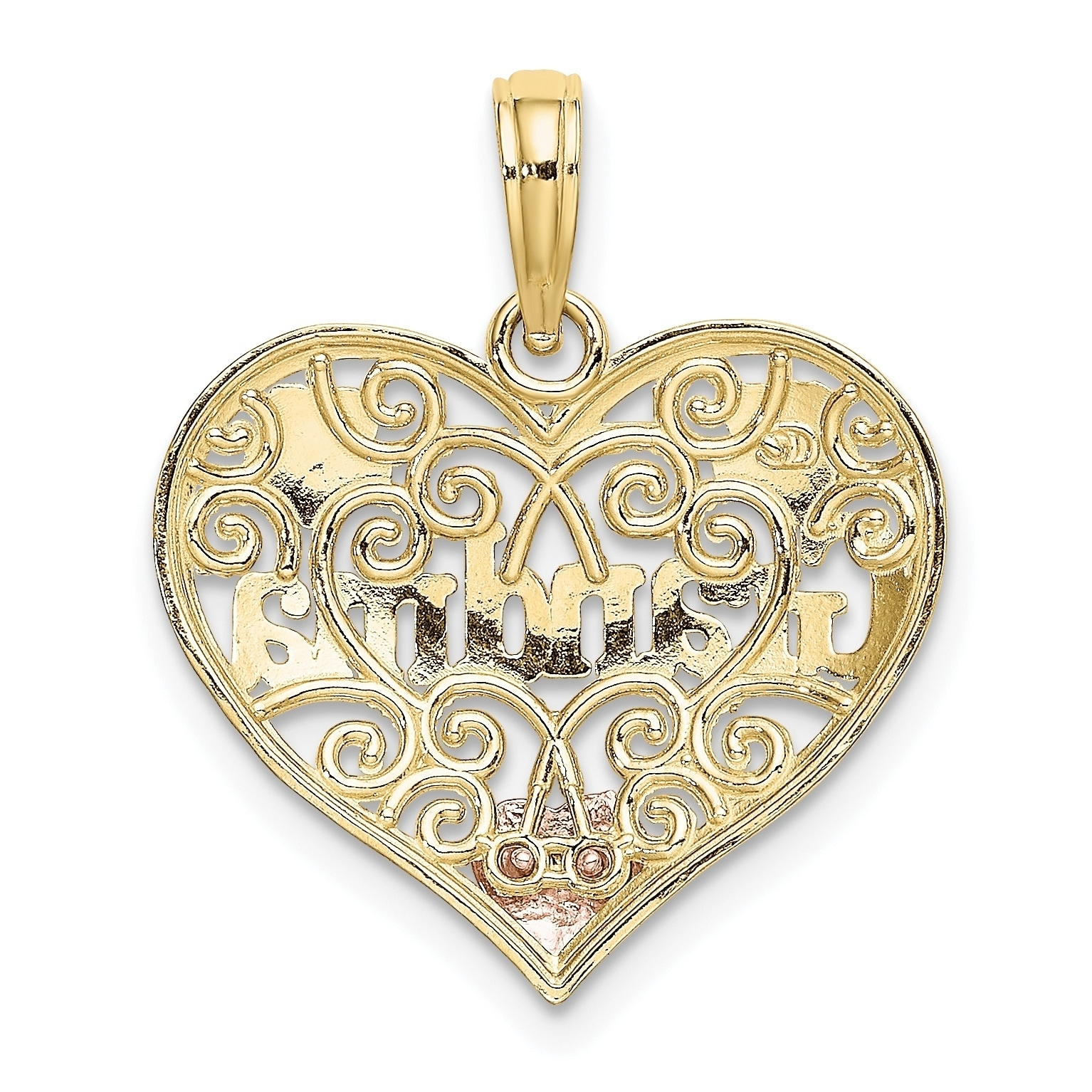 14K Yellow Gold Two-tone Yellow Rose w Rhodium Plated Mom in Heart w Rose Pendant
