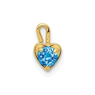 Versil 10 Karat Yellow Gold December Synthetic Birthstone Heart Charm With 18 Inch Chain
