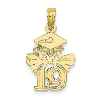 Versil 10 Karat Yellow Gold Graduation Cap And Diploma 19 Charm With 18 Inch Chain