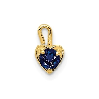 Versil 10 Karat Yellow Gold September Synthetic Birthstone Heart Charm With 18 Inch Chain
