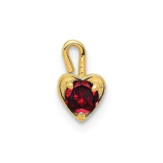Versil 10 Karat Yellow Gold January Synthetic Birthstone Heart Charm With 18 Inch Chain