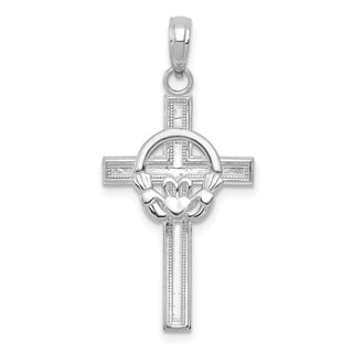 Versil 10 Karat White Gold High Polish And Textured Block Cross With Claddagh Center Charm With 18 Inch Chain