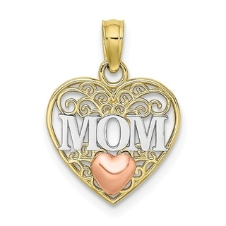 Versil 10 Karat Two Tone Gold And White Rhodium Plated Mom In Filigree Heart Charm With 18 Inch Chain