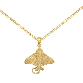 Versil 14 Karat Yellow Gold 2 D Textured Spotted Eagle Ray Charm With 18 Inch Chain