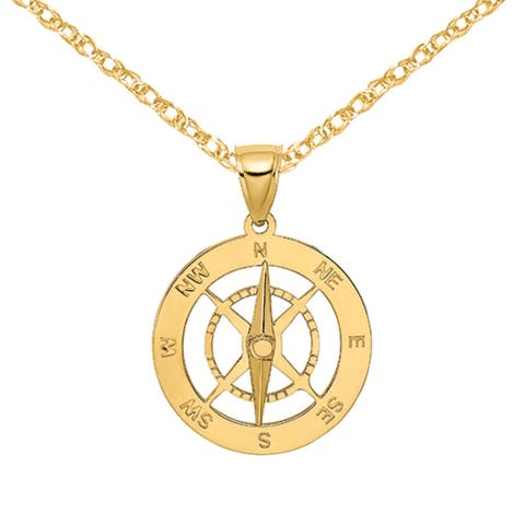 14K Yellow Gold Nautical Compass Needle Moveable Charm with 18-inch Cable Rope Chain by Versil