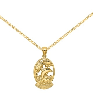 Versil 14 Karat Yellow Gold Turks And Caicos With Dolphin And Sunset In Frame Charm With 18 Inch Chain