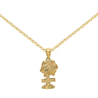 Versil 14 Karat Yellow Gold 2 D BARBADOS On Palm Tree Charm With 18 Inch Chain