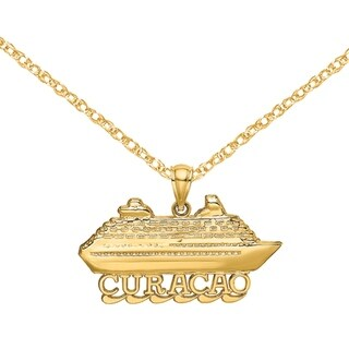 Versil 14 Karat Yellow Gold CURACAO Cruise Ship With Waves And 2 D Charm With 18 Inch Chain