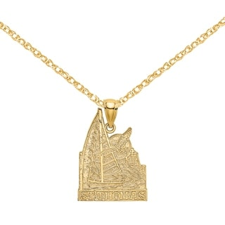 Versil 14 Karat Yellow Gold Saint Thomas With Sailboat And Seagull Scene Charm With 18 Inch Chain