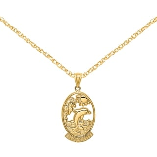 Versil 14 Karat Yellow Gold Avalon With Dolphin And Sunset In Frame Charm With 18 Inch Chain