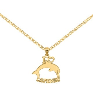 Versil 14 Karat Yellow Gold I Heart Cape May With Dolphin Charm With 18 Inch Chain