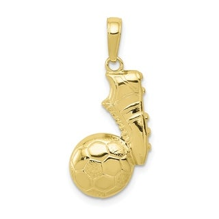 Versil 10 Karat Yellow Gold Soccer Ball And Shoe Pendant With 18 Inch Chain