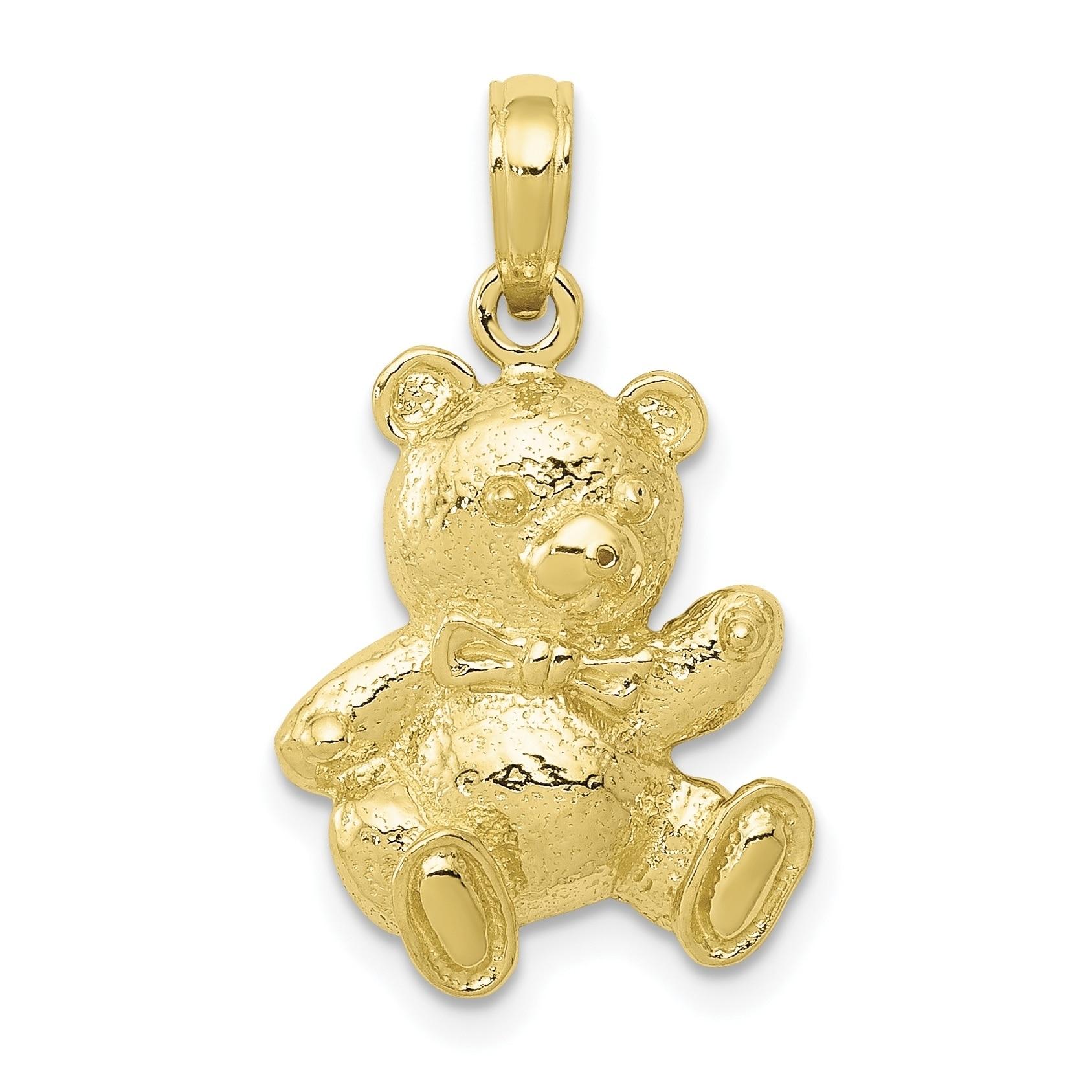 FB Jewels Solid 14K Yellow Gold Satin Diamond-cut SuNFLower Pendant