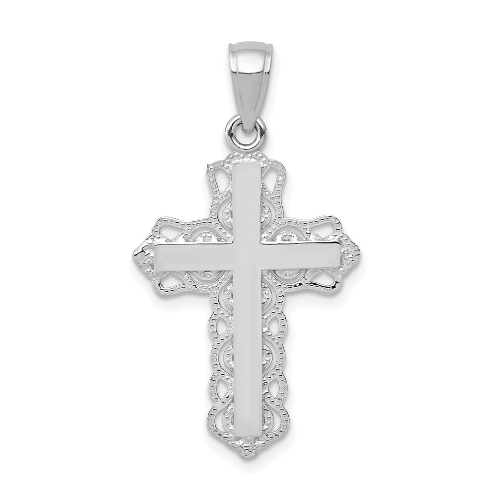 FB Jewels 10K White and Yellow Two Tone Gold Crucifix with Lace Trim and White Jesus Pendant