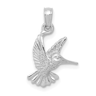 Versil 10 Karat White Gold 2 D And Textured Hummingbird Charm With 18 Inch Chain