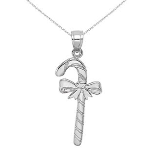 Versil 10 Karat White Gold Solid Polished Candy Cane Pendant With 18 Inch Chain