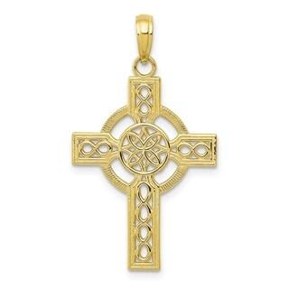 Versil 10 Karat Yellow Gold Diamond Cut Celtic Cross Pendant With 18 Inch Chain