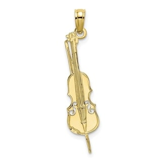 Versil 10 Karat Yellow Gold Polished And Engraved Cello Pendant With 18 Inch Chain