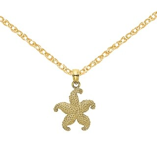 Versil 10 Karat Yellow Gold 2 D Puffed Starfish Pendant With 18 Inch Chain