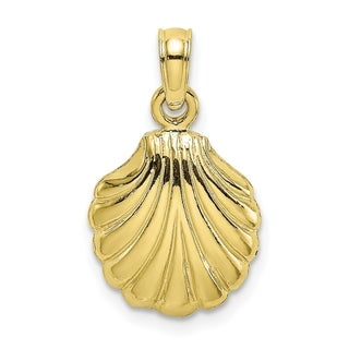 Versil 10 Karat Yellow Gold Polished 2 D Scallop Shell Charm With 18 Inch Chain