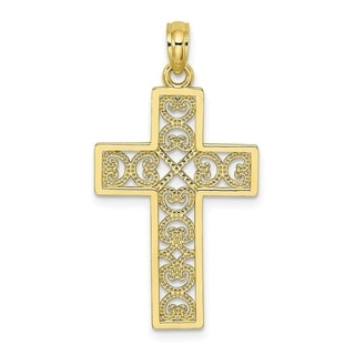 Versil 10 Karat Yellow Gold Square Cross X Lace Center Charm With 18 Inch Chain