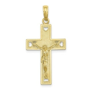 Versil 10 Karat Yellow Gold Cut Out Heart I LOVE JESUS CRUCIFIX Charm With 18 Inch Chain