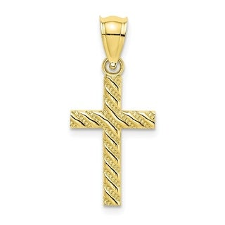 Versil 10 Karat Yellow Gold Ribbed Cross With Diagonal Beaded And Stripes Charm With 18 Inch Chain
