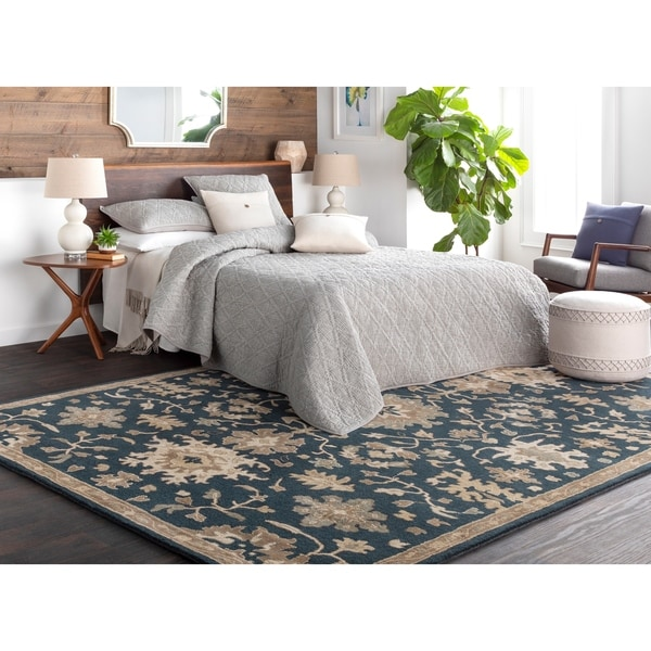 Hand-Tufted Tipton Floral Wool Area Rug - 5' x 8' Shaped