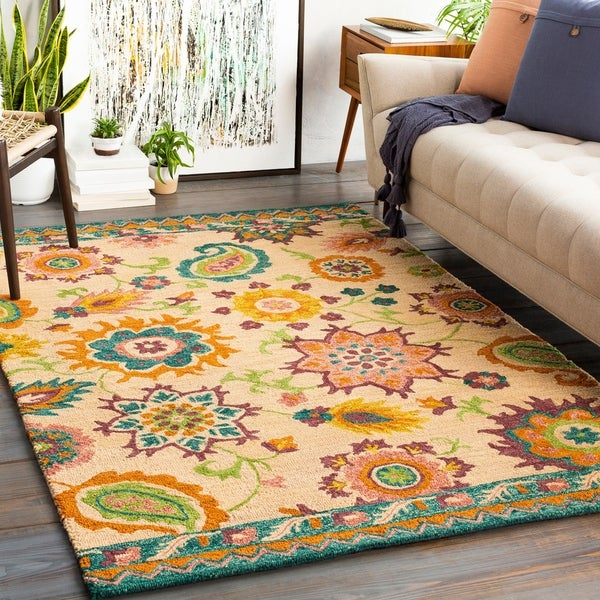 Tolleson Handmade Floral Wool Area Rug