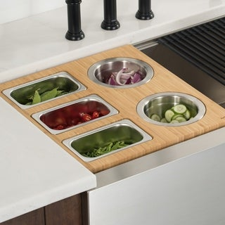 KRAUS Workstation Kitchen Accessory Set - Board, 2 Bowls, 3 Containers