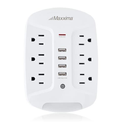 Maxxima 6 Outlet Four USB 4.2A Grounded Adapter Plug, Dusk to Dawn Sensor, Night Light, 1080 Joules Surge Protection, - N/A
